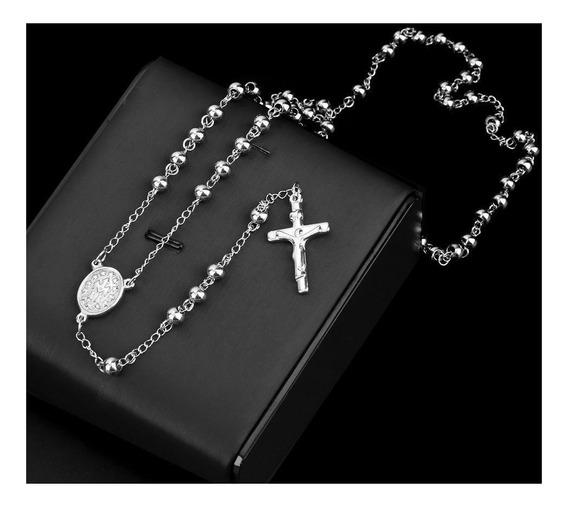 3 Terços Rosário Oração Aço Inox Maciço 70cm Bolinhas 6mm