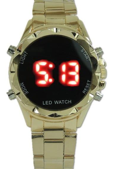 Relógio De Led Dourado Pulseira De Aço