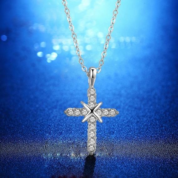 Colar Gargantilha Banhada Prata Pingente Cristal - Cód 452