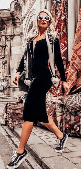 Vestido Preto Veludo Decote Perfect Way Tam 38