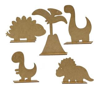 Dinossauro Na Base Decoração Festas Mdf Cru 25 Peças