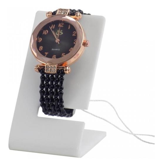 Relógio Feminino Preto E Dourado Com Pulseira De Borracha