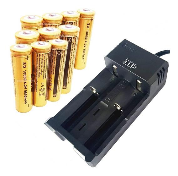 Kit Carregador 10 Bateria 18650 9800mah 4,2v Recarregável