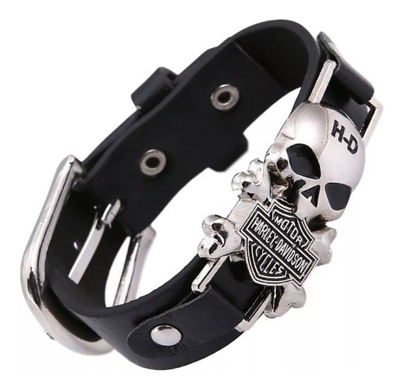 Bracelete Pulseira Harley Davidson Caveira Skull
