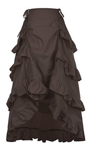 Falda De Ropa Steampunk Gotica Para Mujer Con Cordones Retro