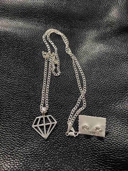 Corrente 3mm Grumet Escama De Peixe Prata 925 Ping Diamante