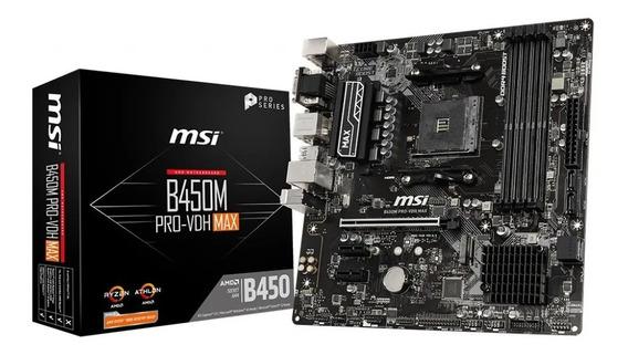 Motherboard Msi B450m Am4 Pro-vdh Max Amd Ryzen 3000 Acuario