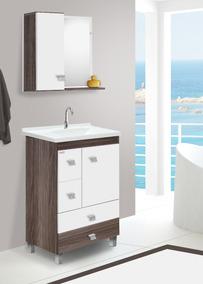 Gabinete Para Banheiro Malbec Com Pés + Cuba + Espelheira
