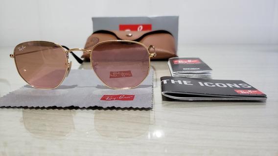 Óculos Ray-ban Hexagonal Rosa Espelhado