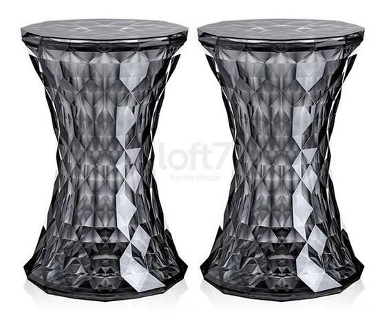 2 Banquetas Baixa Stone Diamante Acrilica Transparente Fume