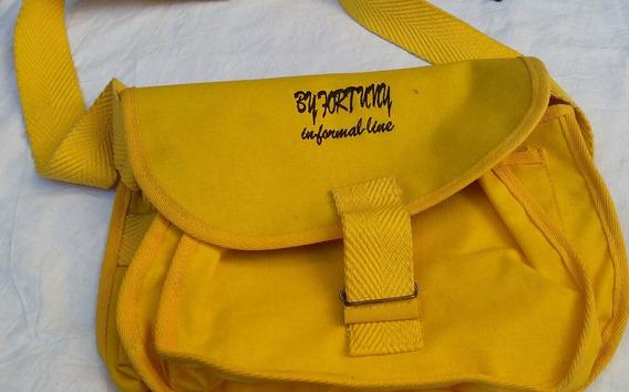 Bolso Cartera Mujer Sintetico Lona Y Plastico Amarillo