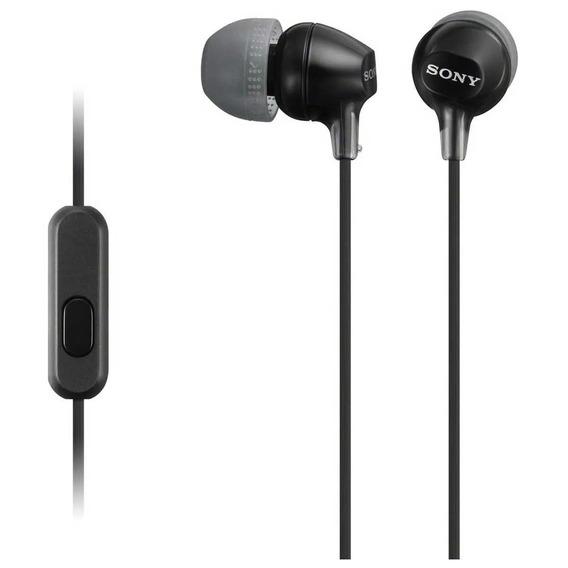 Fone De Ouvido Estéreo Com Microfone Sony Mdr Ex15ap Preto