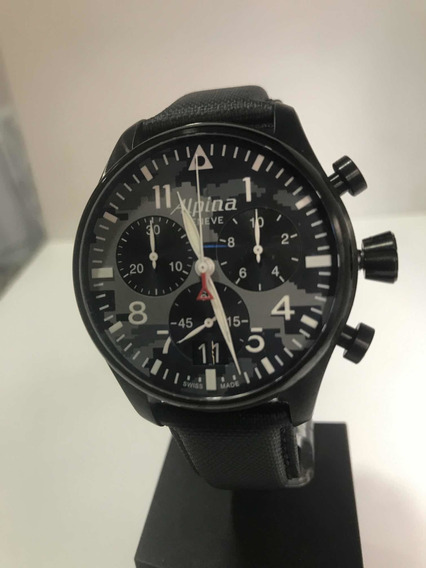 Relogio Alpina Startimer Chronograph 44mm Black Pvd Quase 0k