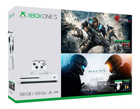 Xbox One S 500gb Bundle Gears Of War E Halo 5 Pronta Entrega