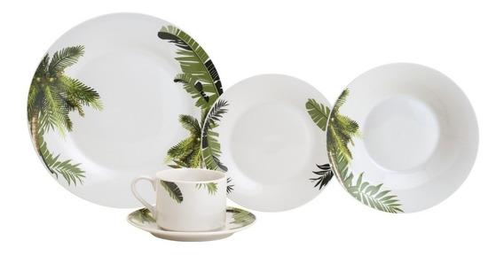 Jogo De Jantar E Chá Em Porcelana Coqueiro Lyor 2271