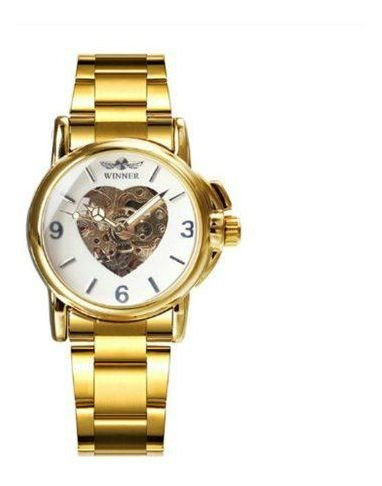 Relógio Inox Mecânico Automático Coração Esqueleto Winner