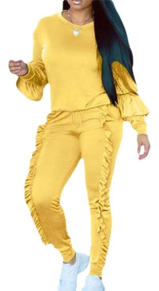 Ieces Outfits Babados Moletom + Calças Compridas Conjunto D