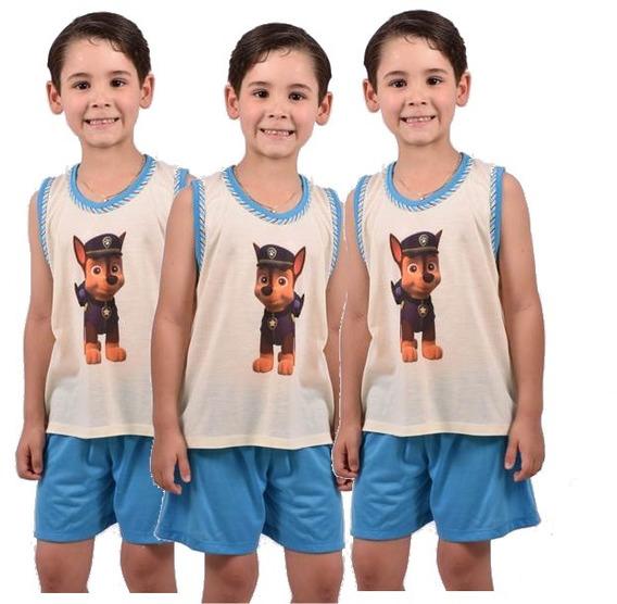 Kit 6 Pçs Pijama Infantil Masculino Short Camiseta Ref 165