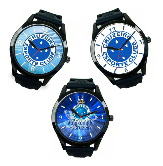 Kit 3 Relógios Esportivos Cruzeiro Pulso Masculino Barato Promoção Oferta Melhor Preço