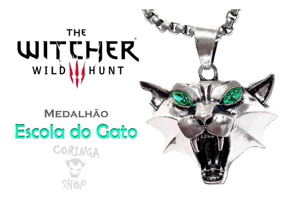 Medalhão The Witcher 3 Pingente Escola Do Gato