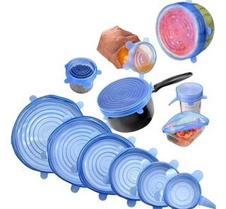 Pack De 6 Tapas Ajustables De Silicón. Azul,rosa Y Amarillo