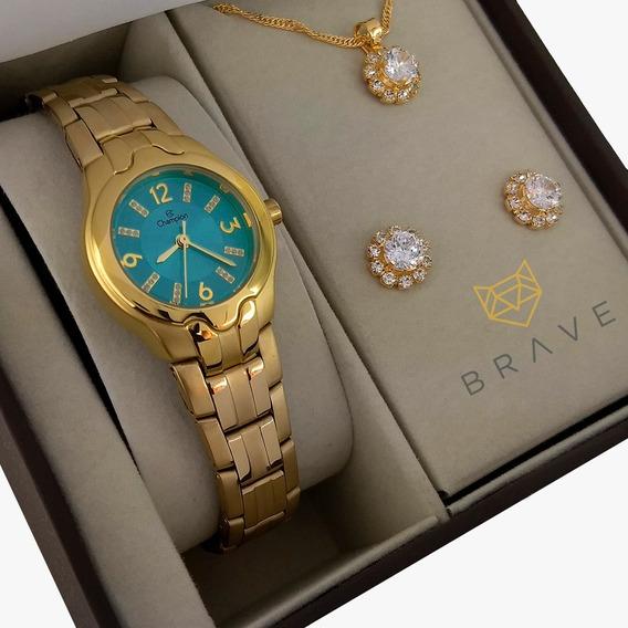 Relógio Champion Feminino Dourado Verde + Embalagem Presente