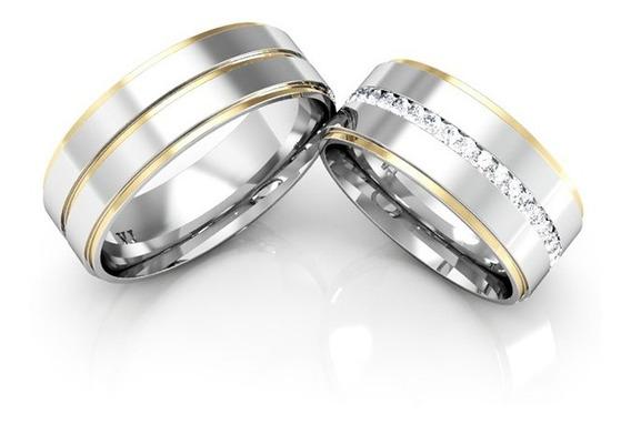 Alianças Namoro Ouro E Prata Linha Carrê