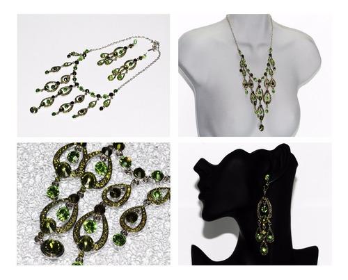 Collar Fiesta Verde Plateado Aretes Cristales Elegante Ce241