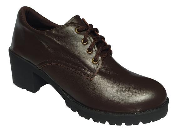 Sapato Feminino Oxford Salto Médio Tratorado Couro Legitimo