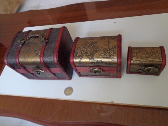 Set De Cofres Cajas Madera Baul Alhajero Vintage