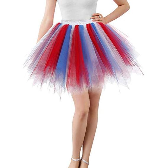 Mizhome Para Mujer Rojo Y Azul Tutu Falda