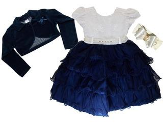 Vestido Infantil Realeza Luxo Dama Com Bolero E Faixa