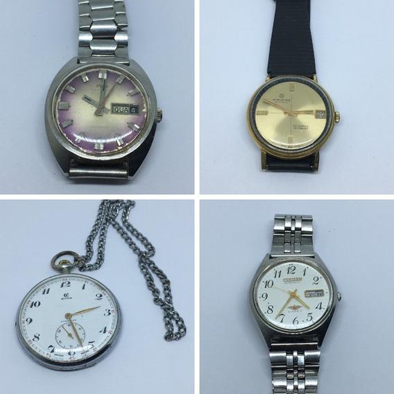 4 Relógios Para Reparo (cyma, Citizen, Mirvaine E Technos)