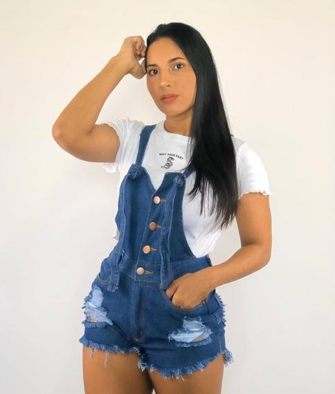 Jardineira Macacão Macaquito Short Jeans Feminino Luxo