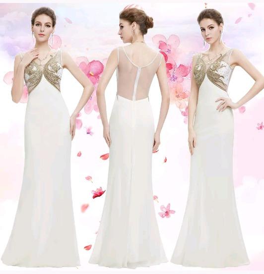Vestido Noiva Civil Bodas 15anos Bege Dourado Ilusion Luxo