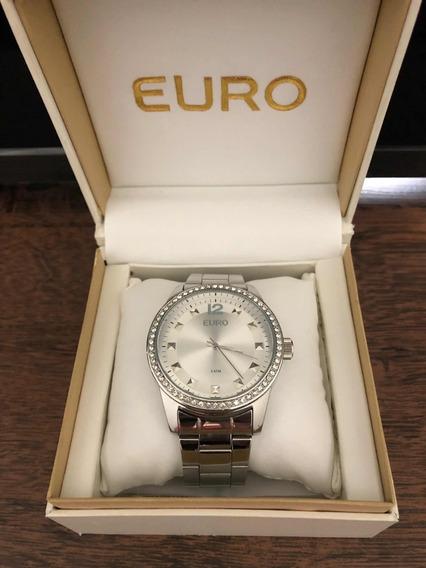 Relógio Euro Feminino Original Eu2035y2b/3k Com Strass Prata
