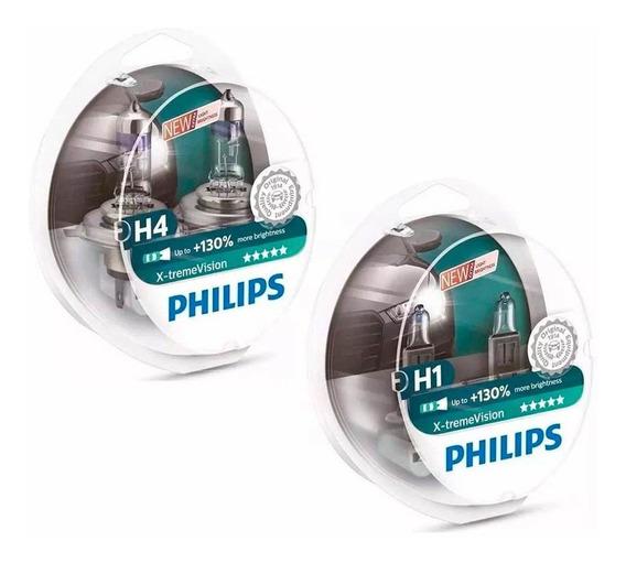 Kit Lampadas Philips H4 + H1 X-treme Vision Plus 130% 3700k