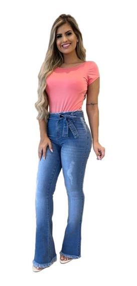 Calça Jeans Flare Empina Bumbum Feminina Lycra Moda Fler