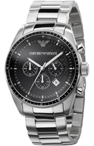 Relógio Emporio Armani Prata Cronógrafo Original C/nf Ar0585