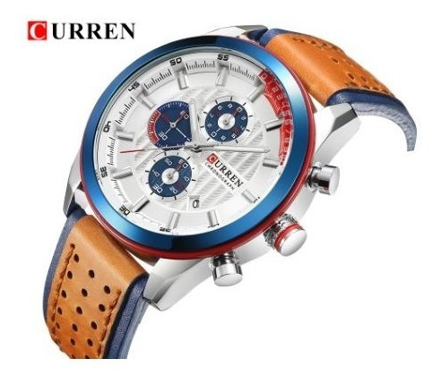 Relógio Esporte Luxo Curren 8292 Original Couro Frete Grátis Sem Juros