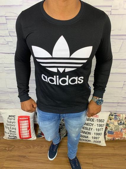 Blusa De Frio adidas - Preto + Logo Branco + Frete Grátis