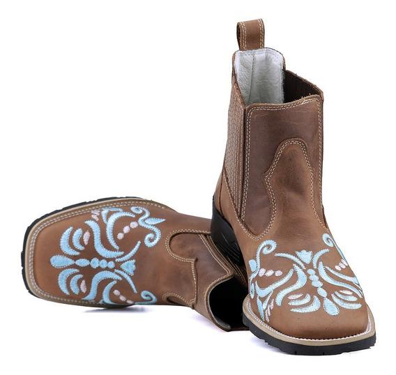 Bota Texana Country Botina Feminina Bico Quadrado Caramelo.