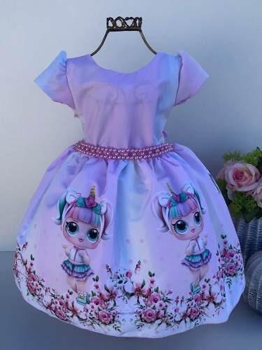 Vestido Lol Unicórnio Super Luxo