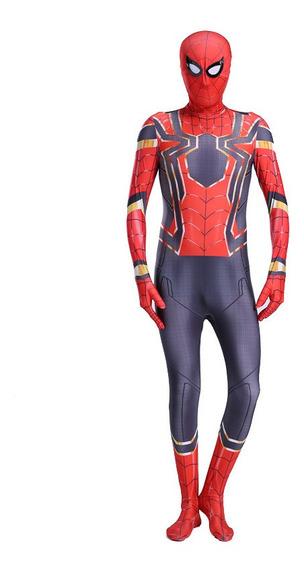 Altura Kid: 95-105cm Ferro Spiderman Costume Spandex Cosplay