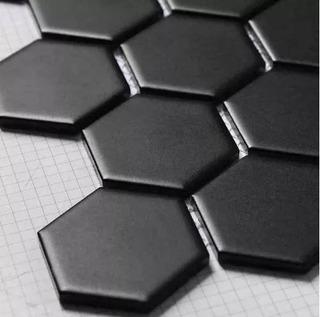 Porcelanato Hexágonal Negro Mate 17,5x20 Piso Pared Acuarela