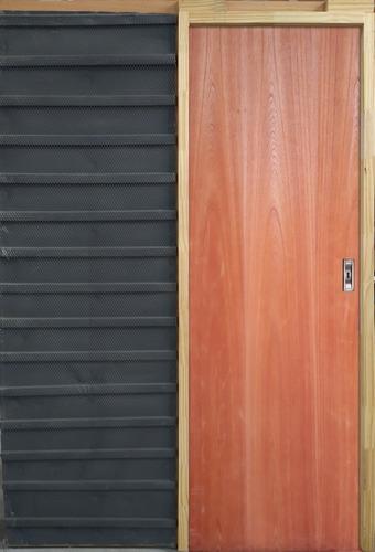 Puerta De Embutir Corrediza Cedro Hoja 70 Marco Madera 15cm