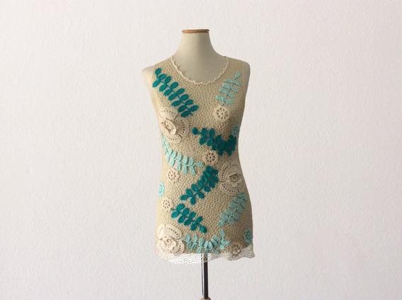 Cubre Remera Crochet Irlandés- Ideal Playa