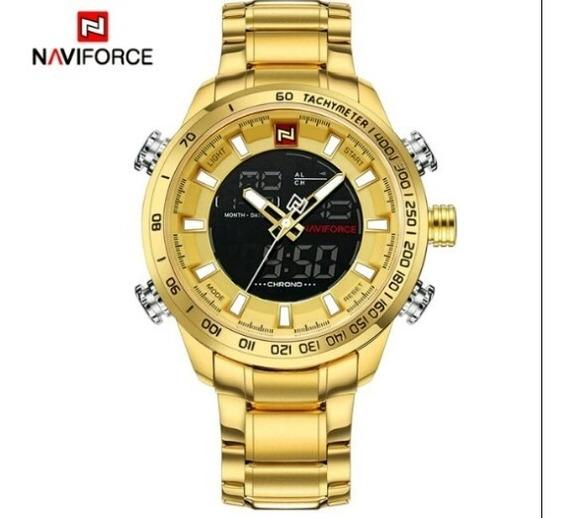 Relógio Masc. De Pulso Naviforce Dourado 30m A Prova Dagua