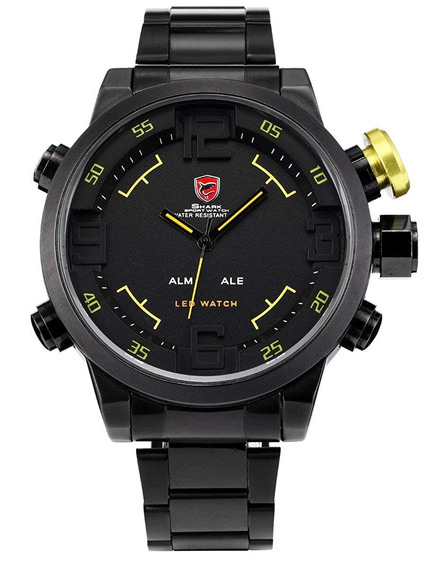 Relógio Shark Sport Militar Sh107 Led Preto Detalhes Amarelo