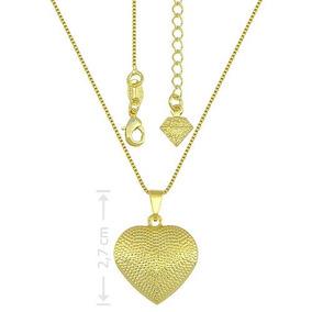 Gargantilha Folheada A Ouro E Pingente Em Forma De Coração